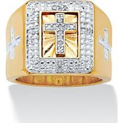 Men's Diamond Cross Square Ring