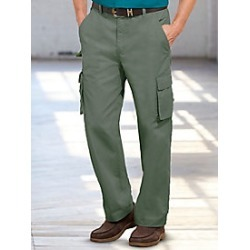 Men's Triple Waist Stretch 7 Pocket Cargo Pants, Dusty Olive, Size 44 L (31-32) found on Bargain Bro Philippines from Haband for $19.99