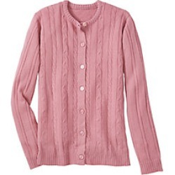 Plus Size Womens Classic Cable Cardigan, Rose, Size 4XL
