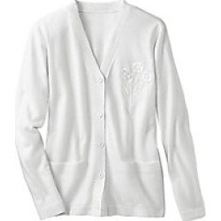Plus Size Womens Embroidered Button Front Cardigan, White, Size 4XL