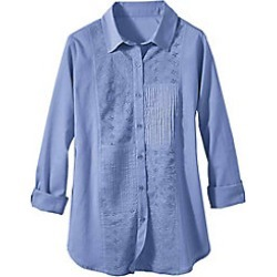Plus Size Womens Embellished Button Front Cotton Shirt, Periwinkle, Size 2XL