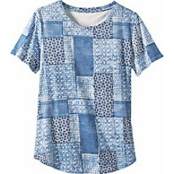 Women's Patchwork Print Knit Tee, Dusty Blue, Size L