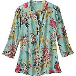 Women's Plus Size Button Front Cotton Voile Floral Shirt, Sea, Size 2XL