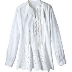 Women's Plus Size Cotton Embroidered Eyelet Tunic with Pintucks, White, Size 2XL