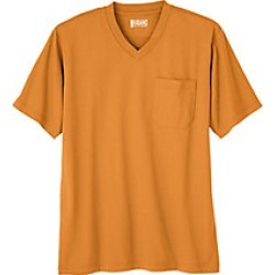 Mens V-Neck Jersey Knit Tee Shirt with Pocket, Orange, Size 7XL found on Bargain Bro Philippines from Haband for $12.99