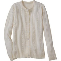 Plus Size Womens Classic Cable Cardigan, Ivory, Size 3XL