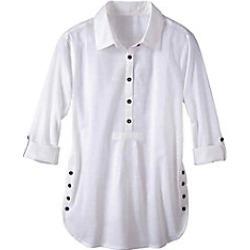 Women's Plus Size Button Accent Cotton Tunic, White, Size 2XL