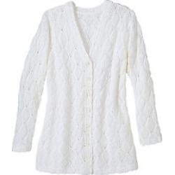 Women's Plus Size Diamond Pointelle 3/4 Sleeve Cardigan, White, Size 2XL