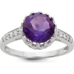 Genuine Purple Amethyst Crown Ring