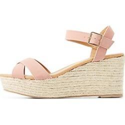 Qupid Two-Piece Espadrille Wedge Sandals