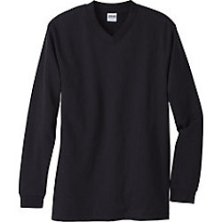 Mens Fleece V-Neck Sweatshirt, Black, Size 3XL found on Bargain Bro Philippines from Haband for $19.99