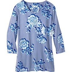 Women's Plus Size Silky Knit Floral Striped Tunic, Sapphire, Size 2XL found on Bargain Bro Philippines from Haband for $18.99