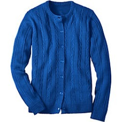Plus Size Womens Classic Cable Cardigan, Royal, Size 2XL