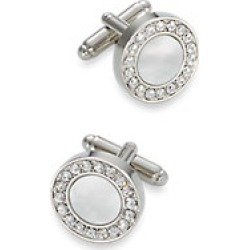 Mother of Pearl & Crystal Round Cufflinks found on MODAPINS from paulfredrick.com for USD $85.00