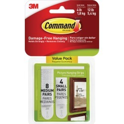 8 White Medium Sets & 4 White Small Sets - Command Picture Hanging Strips 12/Pkg