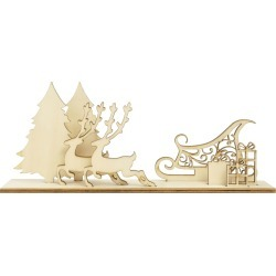 Sleigh Scene Wood Flourishes - Home For Christmas - KaiserCraft