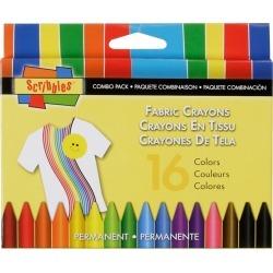 Scribbles Fabric Crayons 16/Pkg
