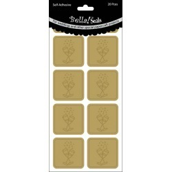 Champagne Glasses/Gold - Wedding Foiled Seals 20/Pkg found on Bargain Bro from A Cherry On Top Crafts for USD $1.18