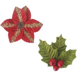 "Poinsettia 3.7""X3.7"", 2.7""X2.7"" - Ultimate Crafts Look Like Christmas Flowers 2/Pkg"