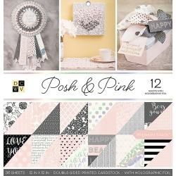 """Posh & Pink W/Holographic Foil - DCWV Double-Sided Paper Stack 12""""X12"""" 36/Pkg"""