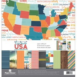 """Discover USA - Paper House Paper Crafting Kit 12""""X12"""""""