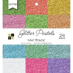 "Glitter Pastels Solid - DCWV Single-Sided Cardstock Stack 6""X6"" 24/Pkg"