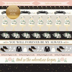 Border Strips Gold Foiled Paper - Wedding Day - Echo Park