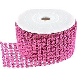 Diamond Mesh 3mm Rhinestone Crystal Ribbon Fuchsia Pink - 12""
