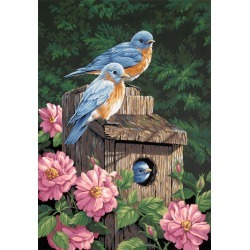 "Garden Bluebirds - Paint By Number Kit 14""X20"""