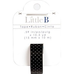 Black With Small White Polka Dots Washi Tape - Little B found on Bargain Bro India from A Cherry On Top Crafts for $2.99