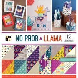 "No Prob Llama, 12 W/Magenta Foil - DCWV Paper Stack Double-Sided 12""X12"" 36/Pkg"