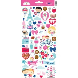 French Kiss Icons Sticker Sheet - Doodlebug