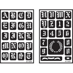 """Old English Alphabet - Over 'N' Over Reusable Glass Etching Stencils 5""""X8"""" 2/Pkg"""