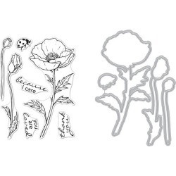 Hero Florals Poppy Clear Stamp & Die Combo - Hero Arts found on Bargain Bro India from A Cherry On Top Crafts for $16.99