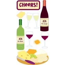 Wine & Cheese Lg 3D Stickers - Sandylion
