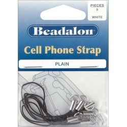 Black - Cell Phone Straps Plain 6/Pkg