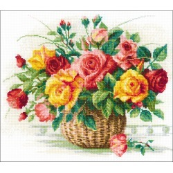 """Basket W/Roses (14 Count) - RIOLIS Counted Cross Stitch Kit 13.75""""X11.75"""""""