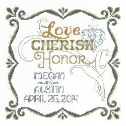 9.5 inches X9.5 inches  14 Count - Honoring Marriage Wedding Record Counted Cross Stitch Kit found on Bargain Bro India from A Cherry On Top Crafts for $23.75