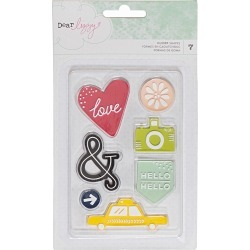Dear Lizzy Saturday Rubber Embellishments 6/Pkg found on Bargain Bro India from A Cherry On Top Crafts for $4.99