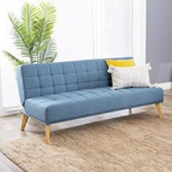 Darby Mid Century Tufted Fabric Convertible Sofa Futon, Blue