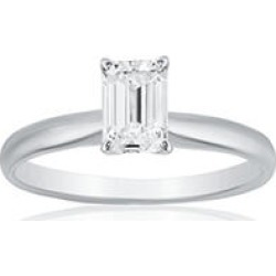 Superior Quality Collection 1 CT. T.W. Emerald Shaped Diamond Solitaire Ring in 18K White Gold (I, VS2)5.5