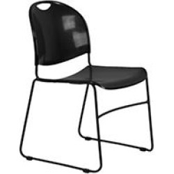 Flash Furniture Plastic Stack Chair With Sled Frame, Black - 40 pk.