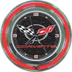 Corvette C5 Neon Clock - 14 inch Diameter - Black