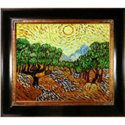 Hand-painted Oil Reproduction of Vincent Van Gogh's Olive Trees with Yellow Sun and Sky.