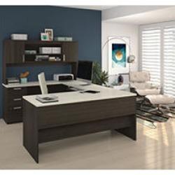 Bestar Ridgeley U-shaped Desk, Dark and White Chocolate