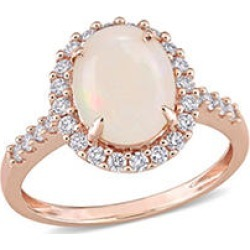 1.66 CT. T.G.W. Opal and 0.42 CT. T.W. Diamond Halo Engagement Ring in 14k Rose Gold 4.5
