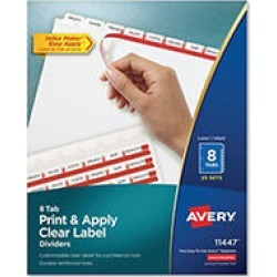 Avery Index Maker Clear Label Dividers, 8 Tabs, 25 Sets
