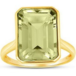 Prasiolite Emerald Shaped Ring in 14 Karat Yellow Gold 7 found on Bargain Bro from Sam's Club for USD $166.44