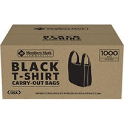 Member's Mark Black T-Shirt Carryout Bags (1000 ct.) found on Bargain Bro India from Sam's Club for $15.64