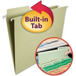 Smead 1/3 FasTab Hanging File Folders, Moss Green (Letter)